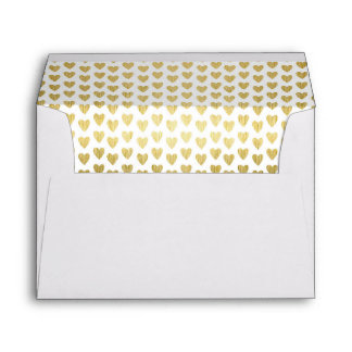 Hearts of Gold Decorative Wedding Lined Envelope