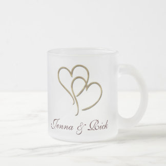 Hearts of gold frosted glass coffee mug