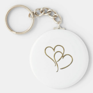 Hearts of gold basic round button keychain