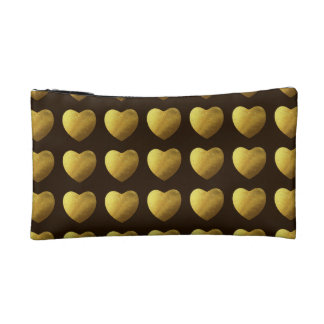 Hearts of gold pattern makeup bag