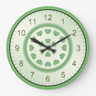 Hearts of Green Tiles in Offset Circular Pattern Large Clock