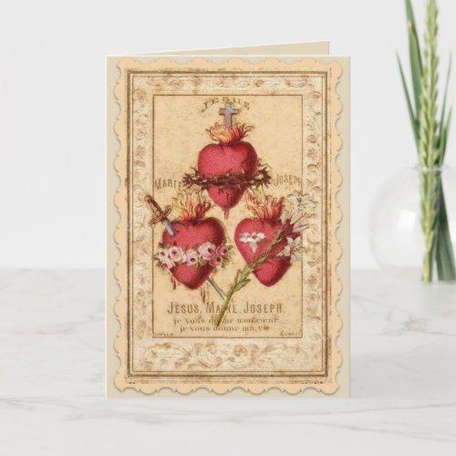 Hearts of Jesus Mary  Joseph Card