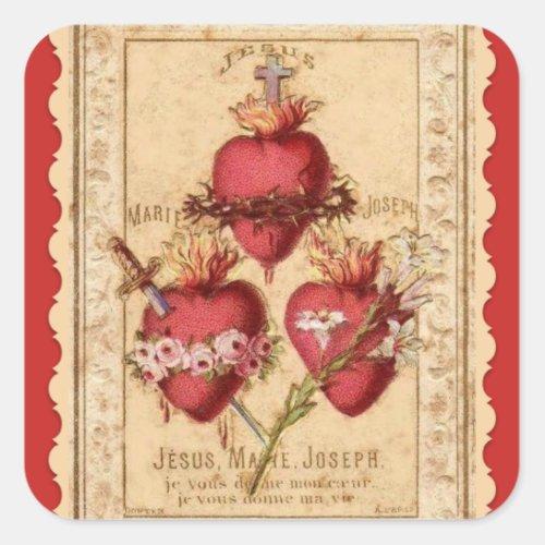 Hearts of Jesus  Mary  St Joseph Square Sticker