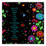 """""""Hearts of Kindness Change the World"""" Classroom Poster"""
