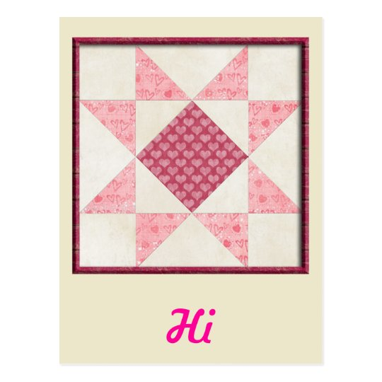 Hearts of Love Quilt Postcard