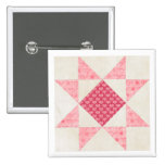 Hearts of Love Star Patch Quilt Block 2 Inch Square Button
