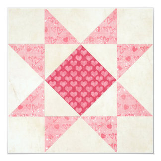 Hearts of Love Star Patch Quilt Block Card