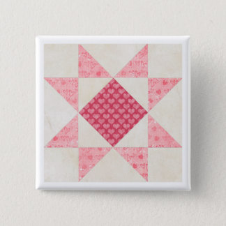 Hearts of Love Star Patch Quilt Block Pinback Button