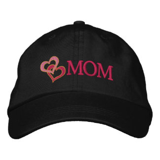 Hearts on a Cap for Mom Custom Embroidery