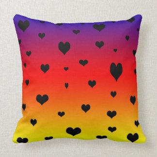 Hearts On A Rainbow Colour,  Big Throw Cushion. Throw Pillow