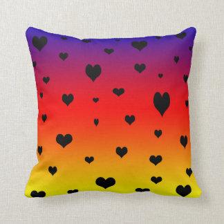 Hearts On A Rainbow Colour,  Throw Cushion. Throw Pillow