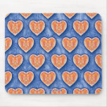 Hearts on Blue Mousepad