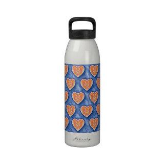 Hearts on Blue Water Bottle