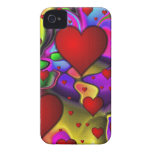 Hearts on Bright Background iPhone 4 Cases