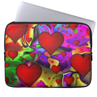 Hearts on Bright Background Laptop Sleeves