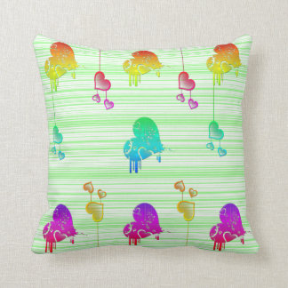 Hearts on green lines throw pillow