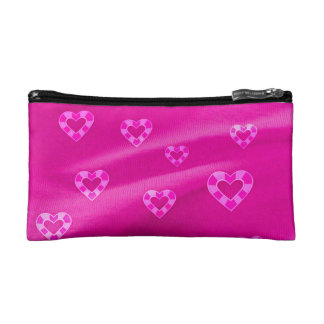 Hearts on Jersey,pink Cosmetic Bags