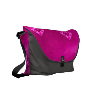 Hearts on Jersey,pink Messenger Bags