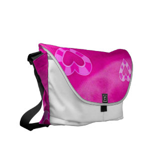 Hearts on Jersey,pink Messenger Bag