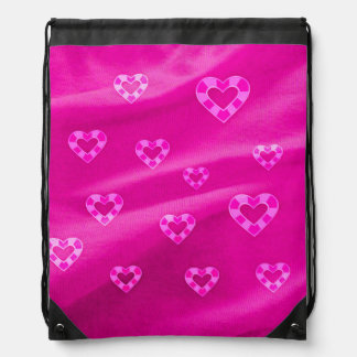 Hearts on Jersey,pink Drawstring Backpack