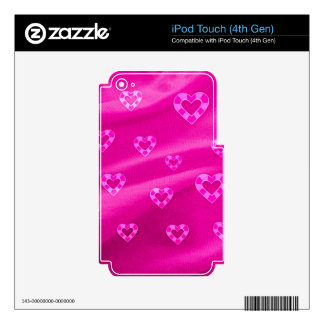 Hearts on Jersey,pink iPod Touch 4G Skin