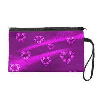 Hearts on Jersey,purple Wristlet Purse
