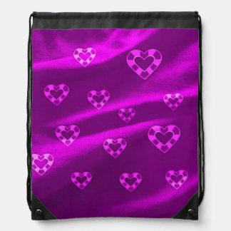Hearts on Jersey,purple Cinch Bag