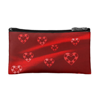 Hearts on Jersey,red Makeup Bag