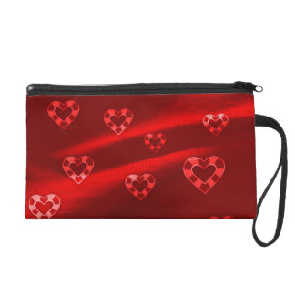 Hearts on Jersey,red Wristlet