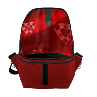 Hearts on Jersey,red Messenger Bag