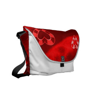Hearts on Jersey,red Messenger Bags