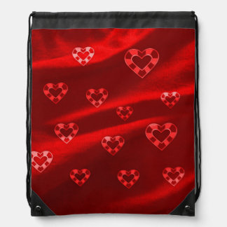 Hearts on Jersey,red Drawstring Backpacks