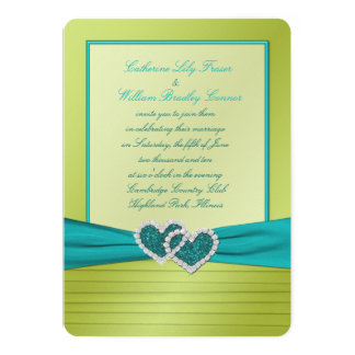 Hearts on Lime Pleats with Turquoise Invitation