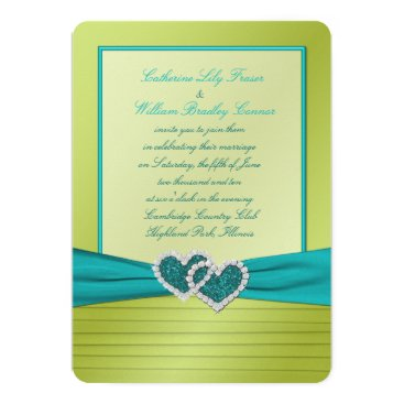 Valentines Themed Hearts on Lime Pleats with Turquoise Invitation
