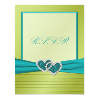 """Hearts on Lime Pleats with Turquoise R.S.V.P. Card 4.25"""" X 5.5"""" Invitation Card"""
