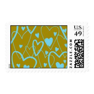 Hearts on Olive Postage
