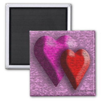 Hearts on Parade 2 Inch Square Magnet