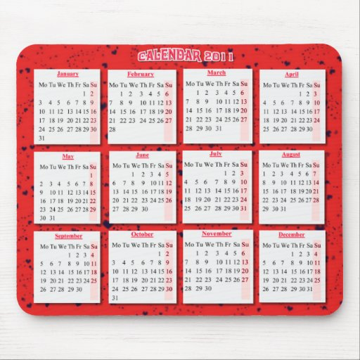 Hearts on red mousepad/ calendar