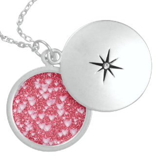 Hearts on Sparkling glitter print, red Locket Necklace