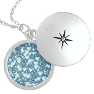 Hearts on Sparkling glitter print, teal Sterling Silver Necklace