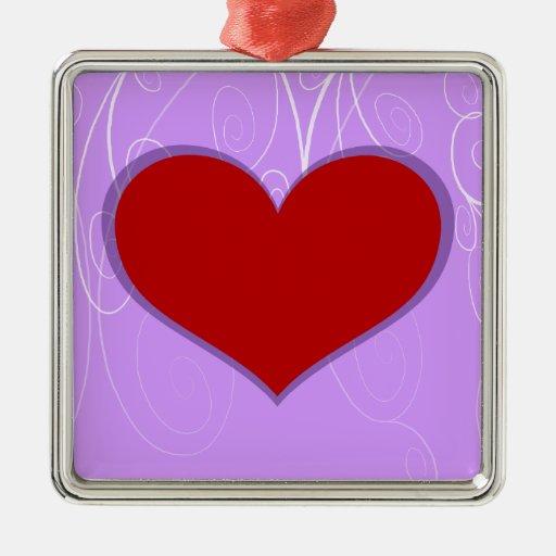 Hearts on Swirls Metal Ornament
