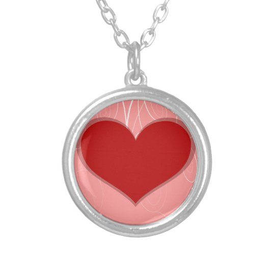 Hearts on Swirls Silver Plated Necklace