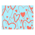 Hearts on Turquoise Post Cards