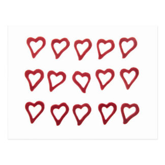 Hearts on white background postcard