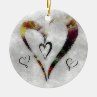 Hearts Double-Sided Ceramic Round Christmas Ornament