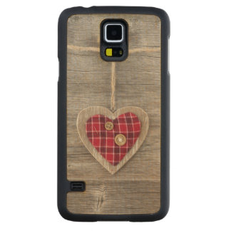 Hearts over a Wooden Table Carved Maple Galaxy S5 Case