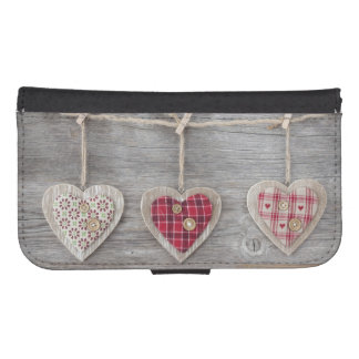 Hearts over a Wooden Table Phone Wallet