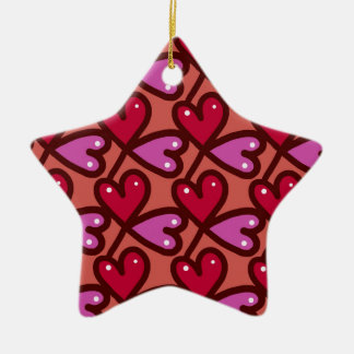 hearts pattern #2 ceramic ornament