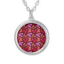 hearts pattern #2 silver plated necklace