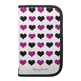 Hearts Pattern Black Purple Custom Name Folio Planners